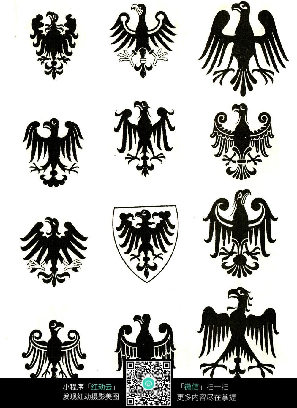 黑白老鹰盾牌图案