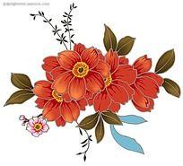 红色茶花彩色植物装饰画图片