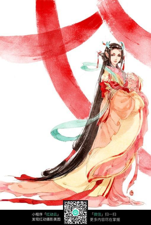 红衣古韵美女手绘填色画