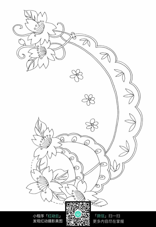 花朵花藤刺绣图案素材