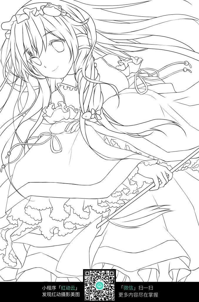 卡通女孩和花朵手绘稿_人物卡通图片_红动手机版