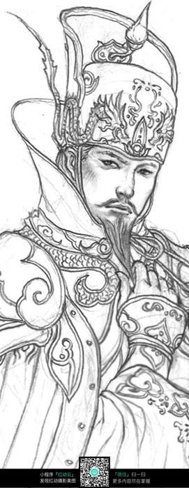 皇帝头像手绘线稿素材