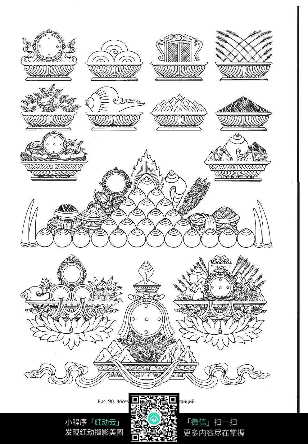 花瓶植物线描图形