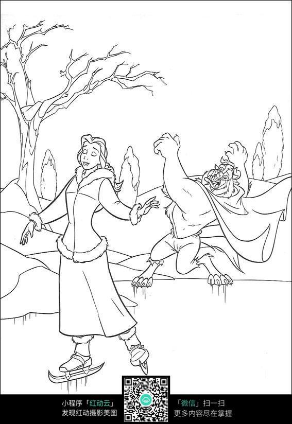 滑雪的美女老虎卡通手绘线描图