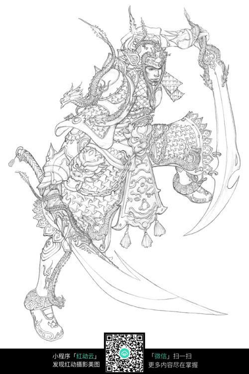 挥大刀的战士手绘线稿素材
