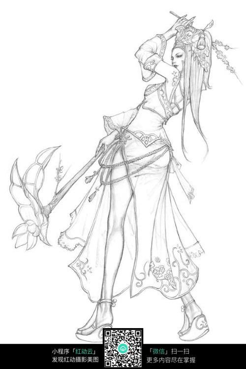 挥武器的长发美女战士手绘线稿素材