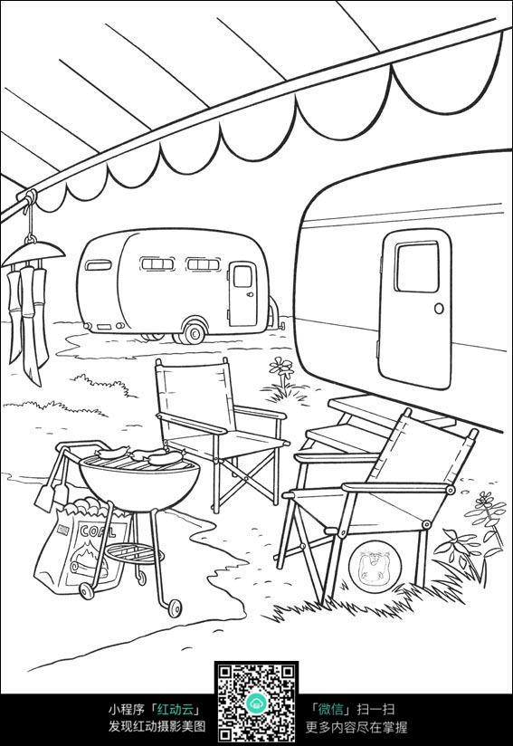 户外烧烤卡通手绘线描图