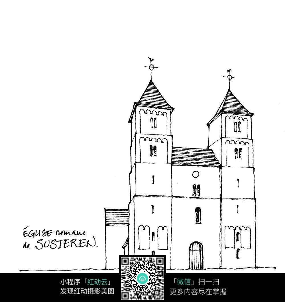 简洁国外教堂手绘图图片