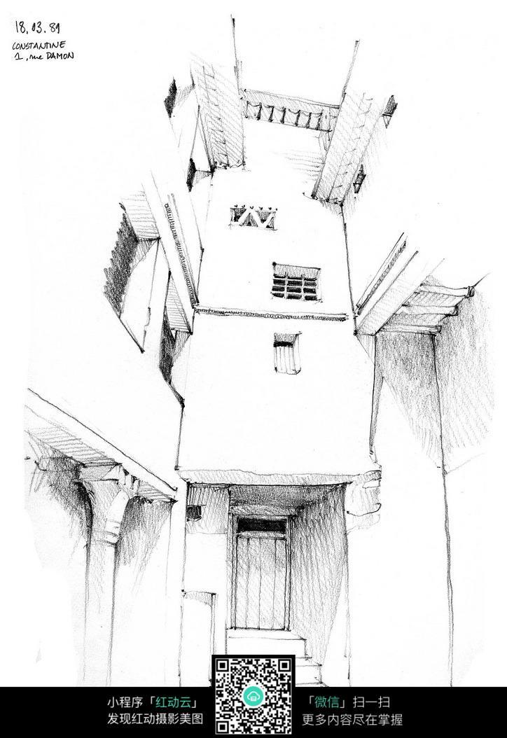 建筑结构线描稿