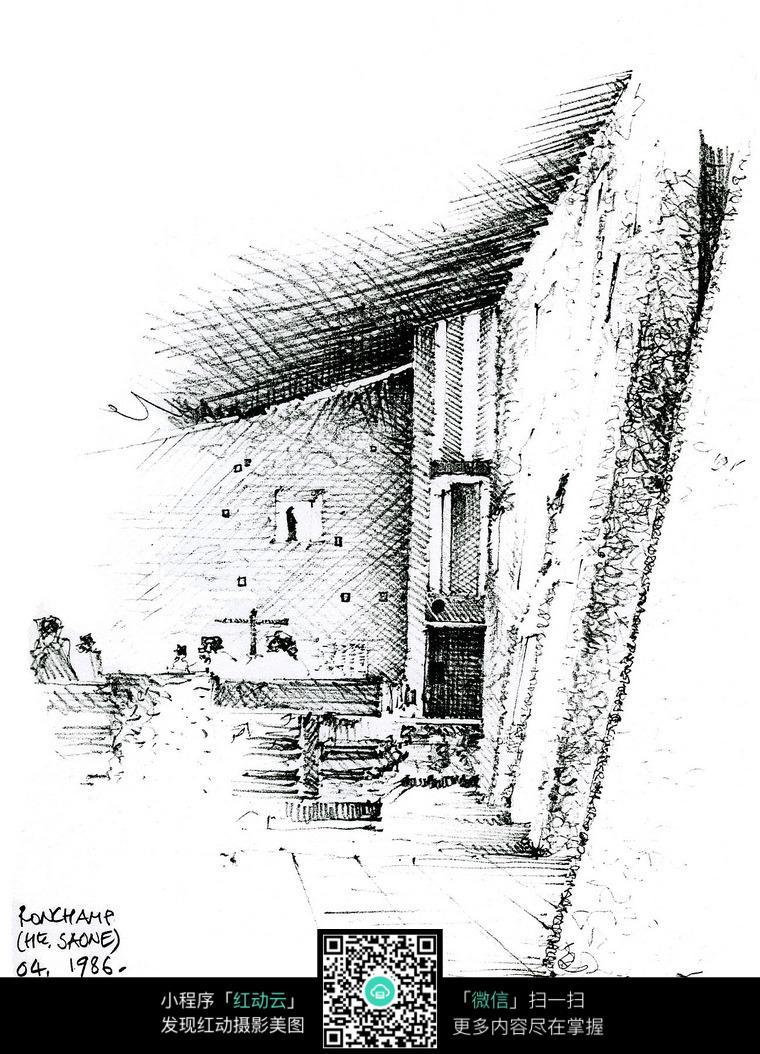 建筑景观手绘素描图图片