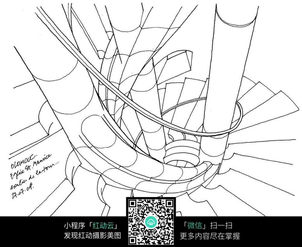 建筑楼梯俯视手绘线描稿
