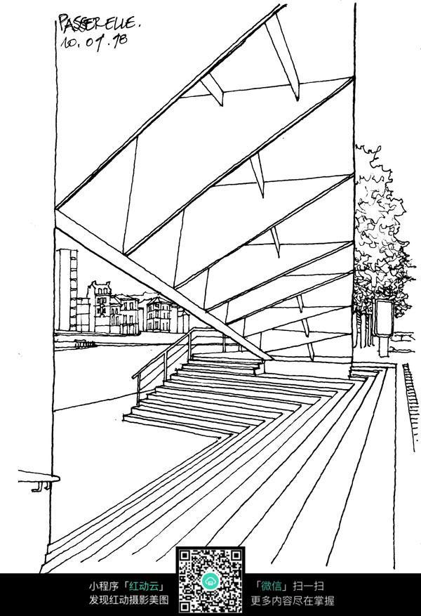 建筑楼梯手绘线描画