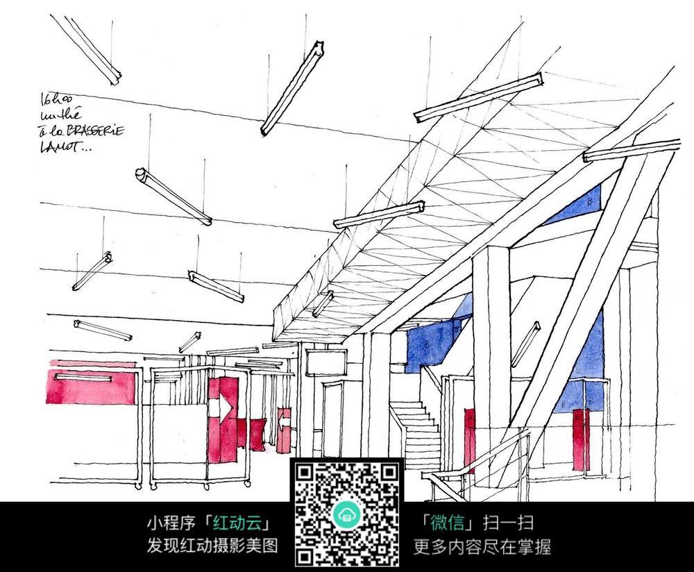 建筑内部空间手绘线描画