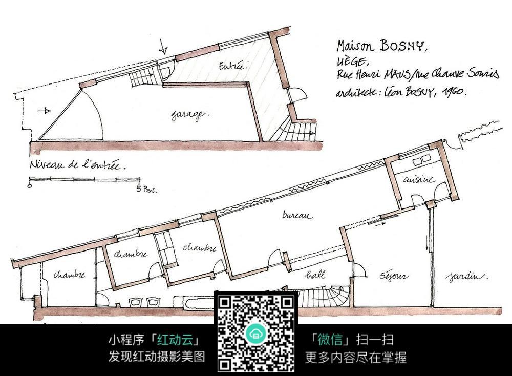 建筑平面布局手绘水彩线描图