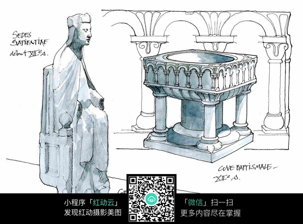 建筑石雕手绘线描填色图