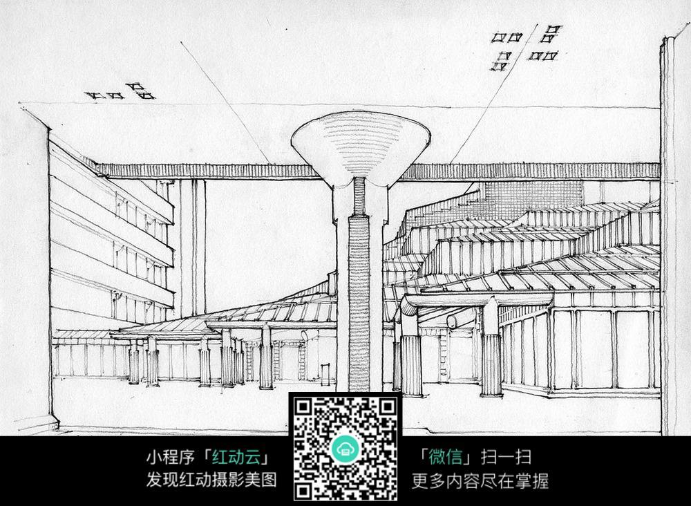 建筑室内空间手绘线描画