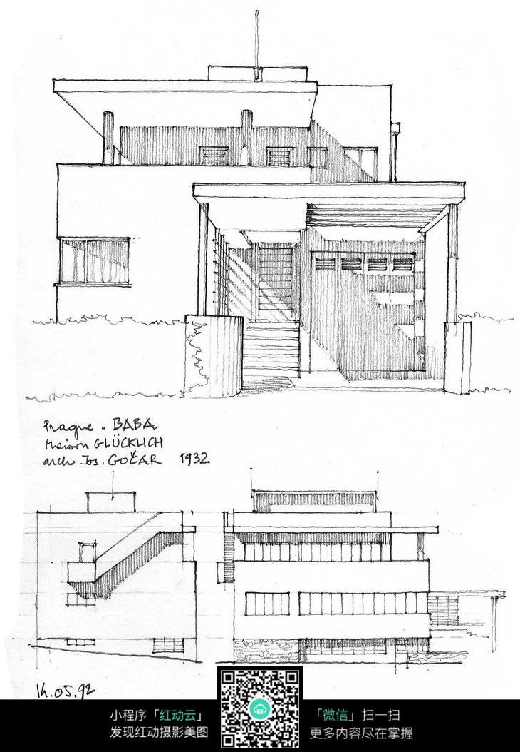 建筑外立面手绘线描图图片