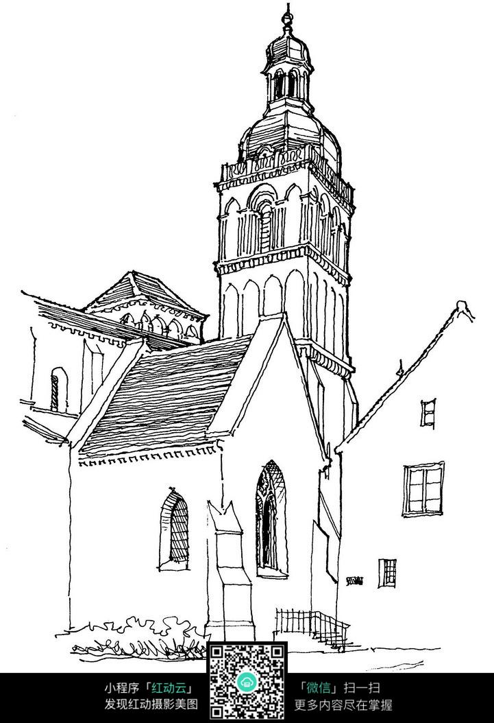 教堂建筑手绘图图片免费下载 编号3700934 红动网