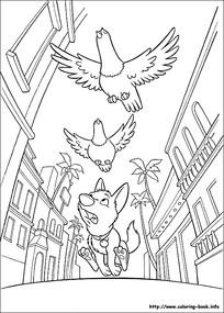 街道上追赶鸡的小狗卡通手绘线描图