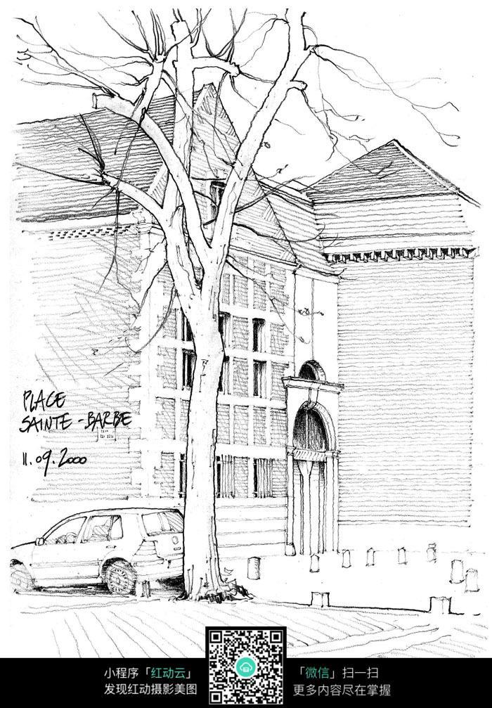 街道树木建筑手绘图图片
