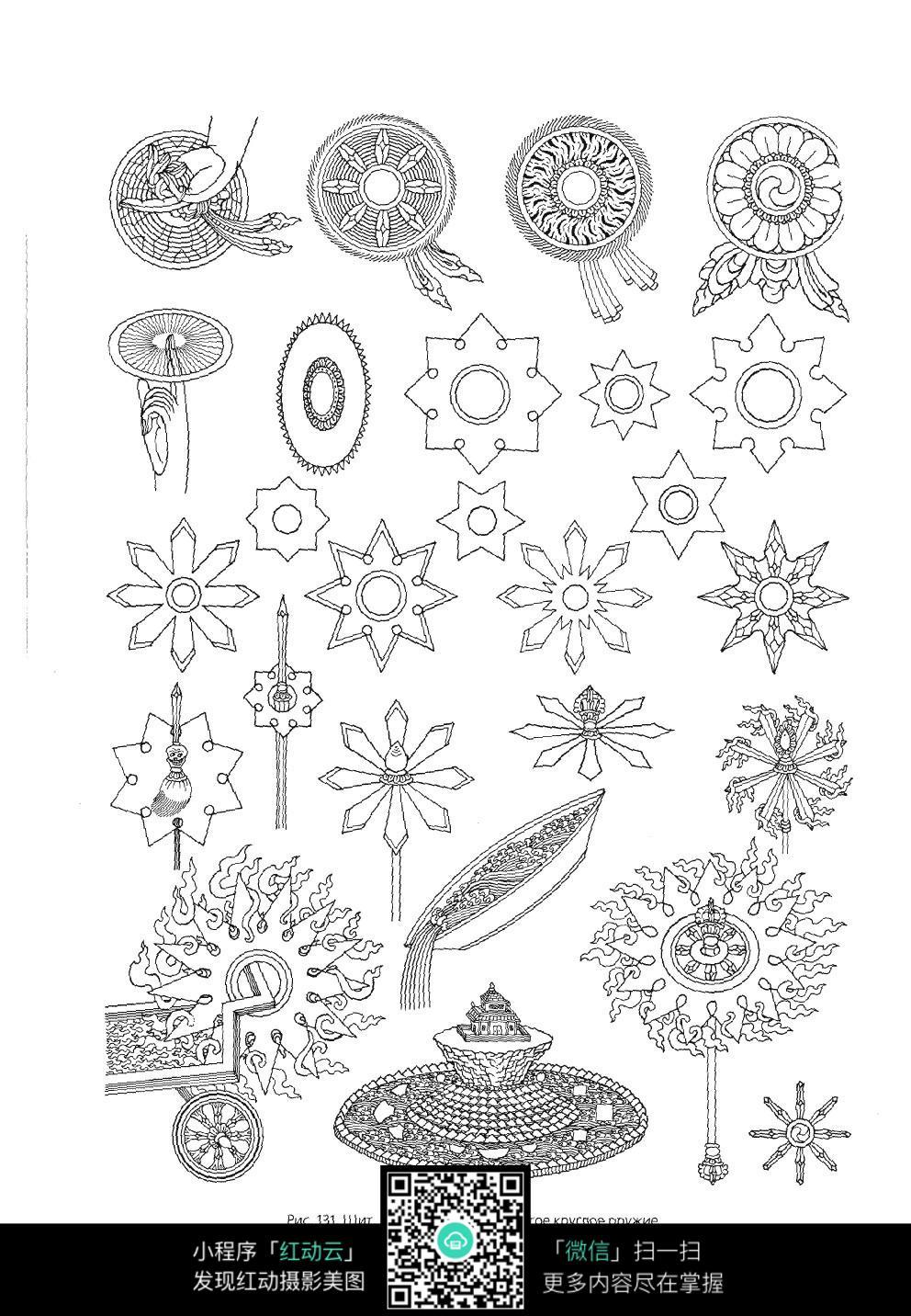 几何花纹手绘线描图片素材