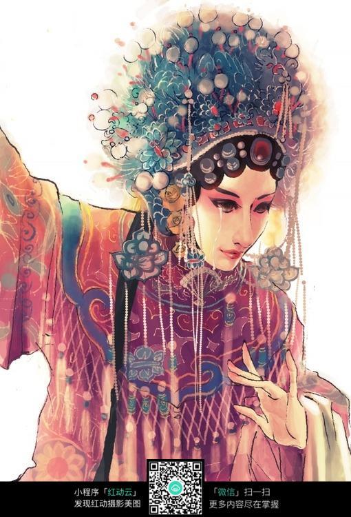 京剧角色美女手绘填色画