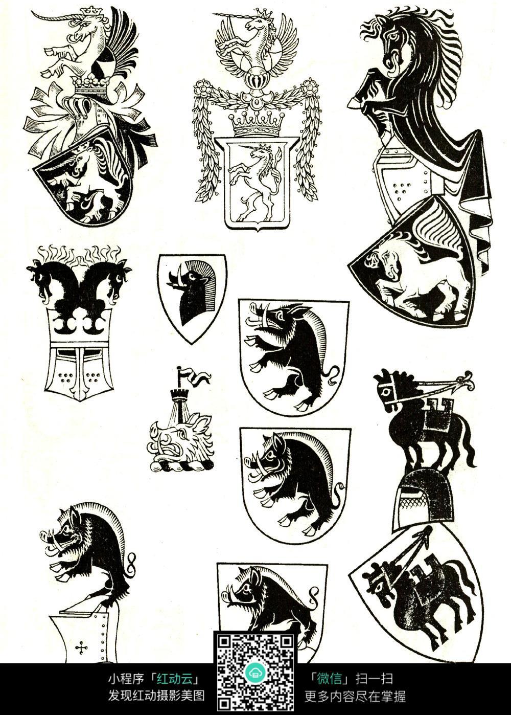 骏马造型花纹盾牌图片