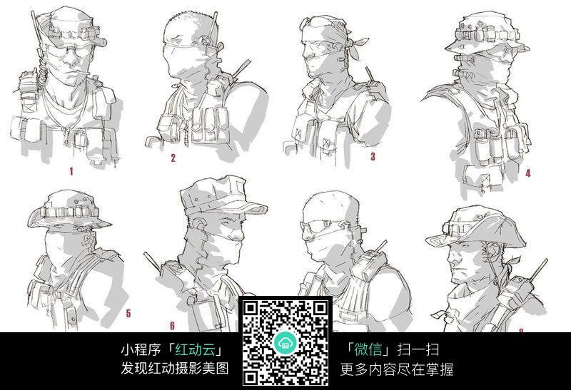 军人形象手绘填色稿