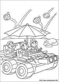 开车的小狗卡通手绘线描图