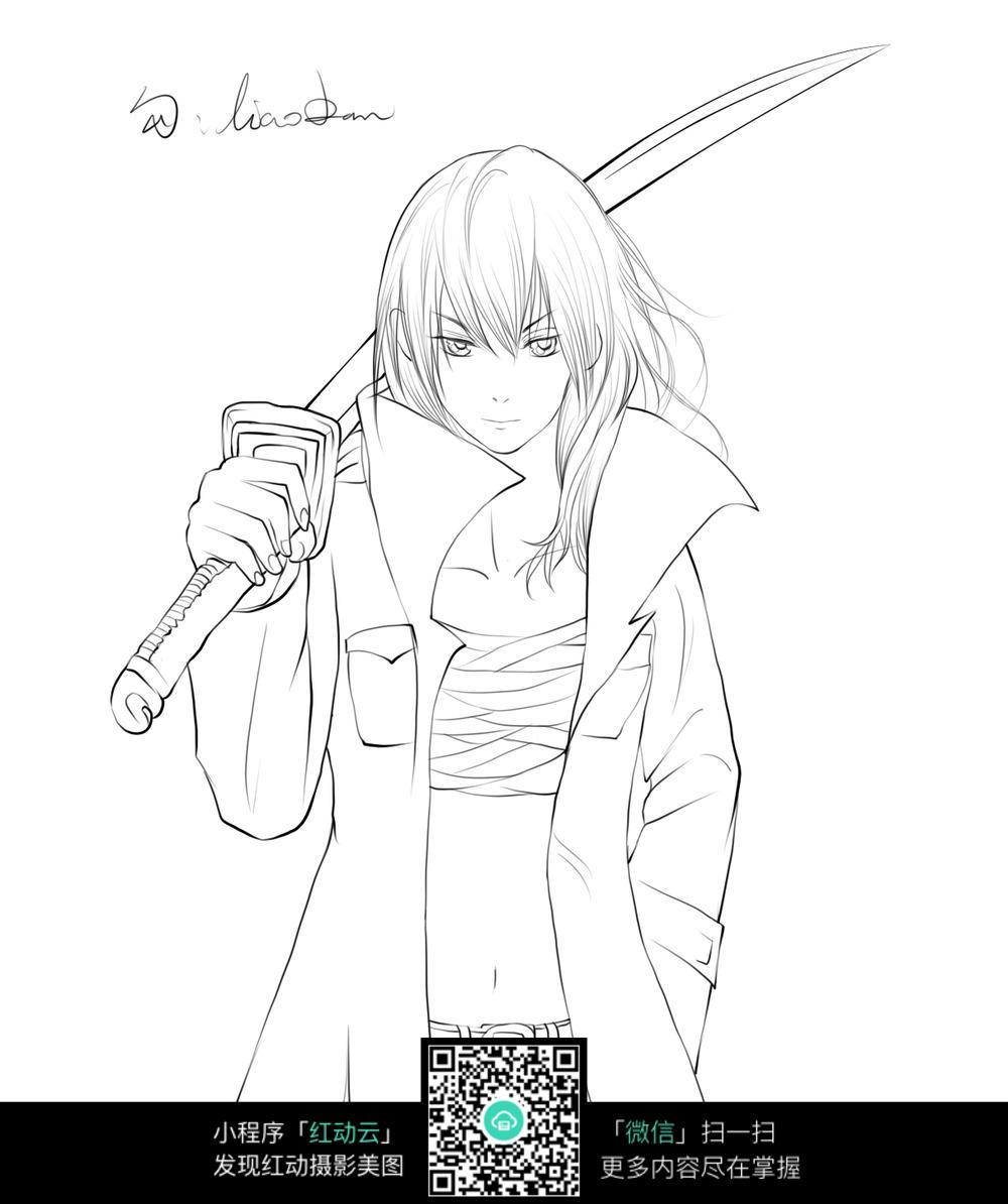 扛刀的美少女手绘线稿图