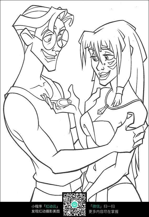 看挂饰的情侣手绘线稿素材_人物卡通图片