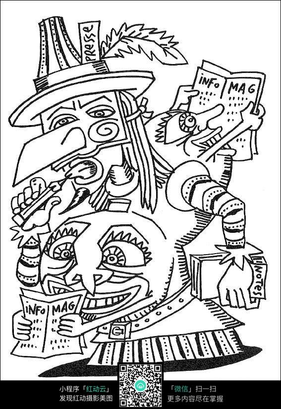 卡通创意人物手绘线描画图片