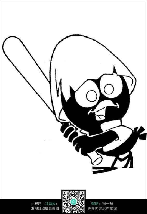 卡通打棒球的小鸡手绘线描画