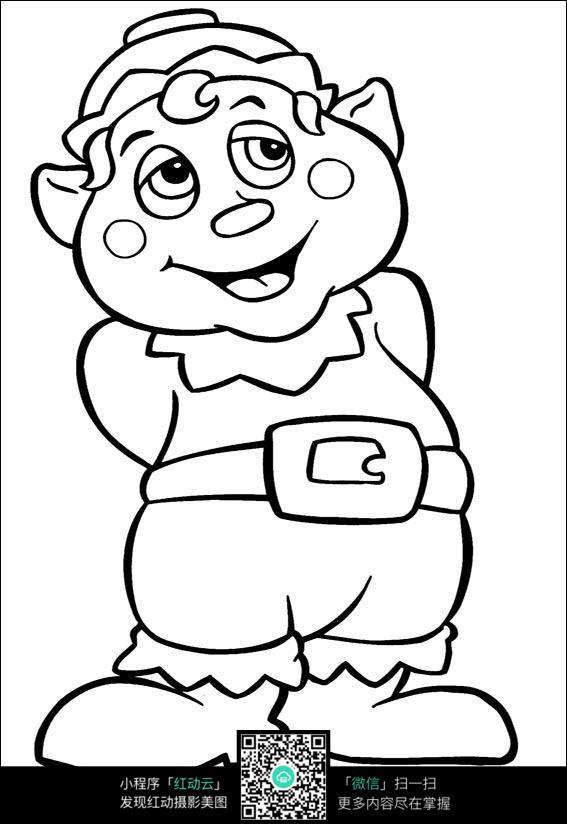 卡通大肚子小熊手绘线描画