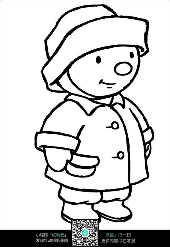卡通带帽子的小孩手绘线描画