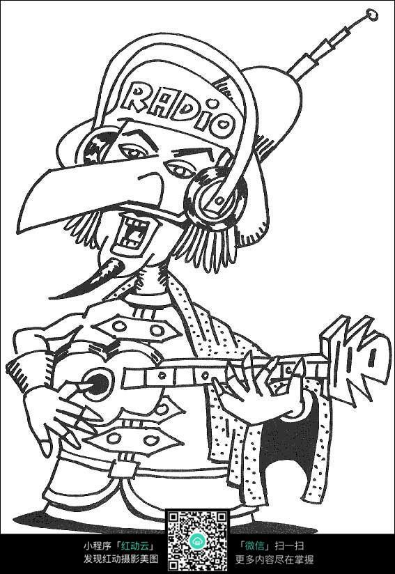 卡通弹吉他唱歌的小人手绘线描画图片