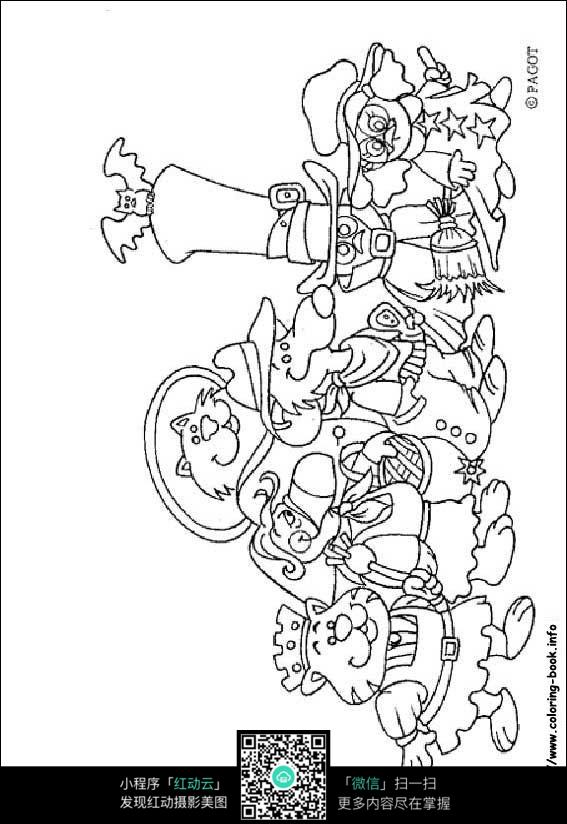 卡通动物手绘线描画