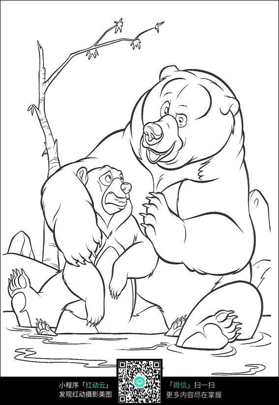 卡通哥达和肯尼动漫人物线描
