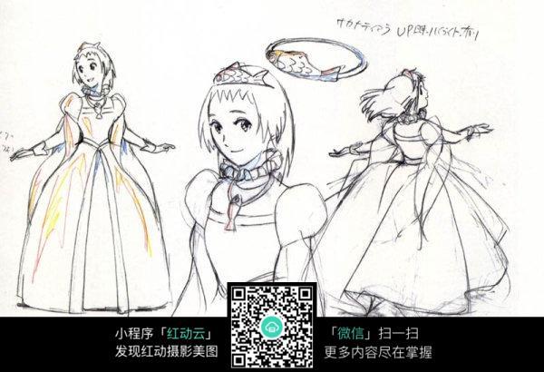 卡通公主裙动漫女孩线描