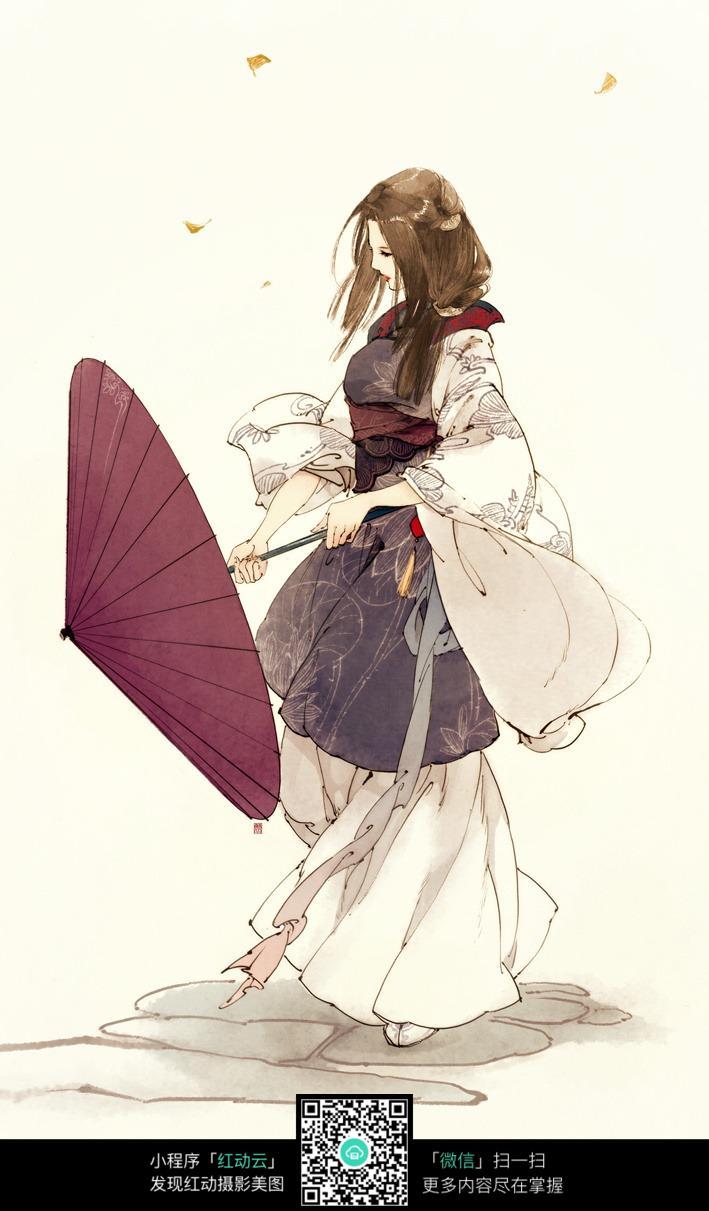 卡通古典美女打伞彩绘图片