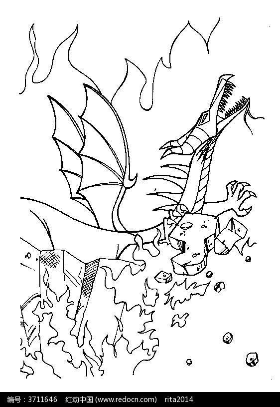 卡通恐龙动漫线描图片