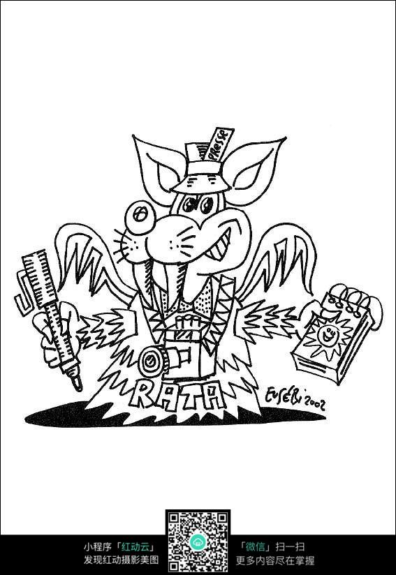 免费素材 图片素材 漫画插画 人物卡通 卡通老鼠动漫线描  请您分享