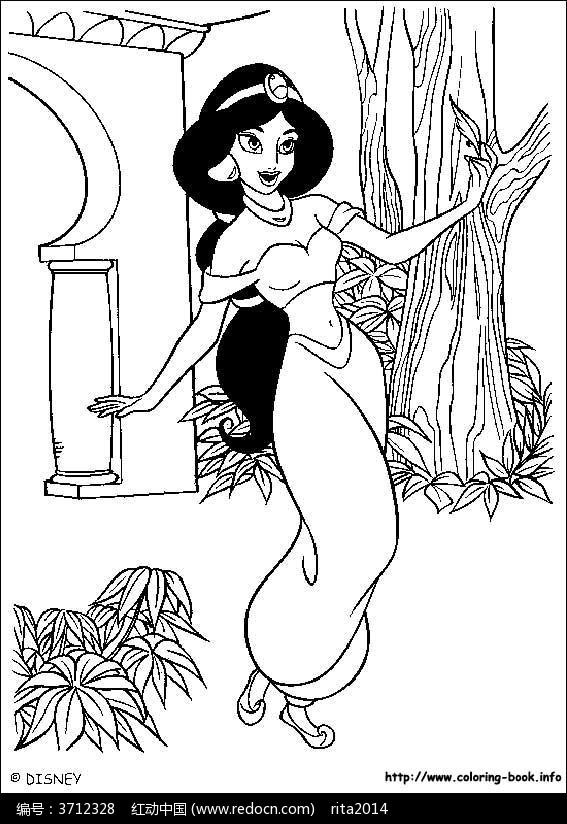 卡通茉莉公主卡通人物线描