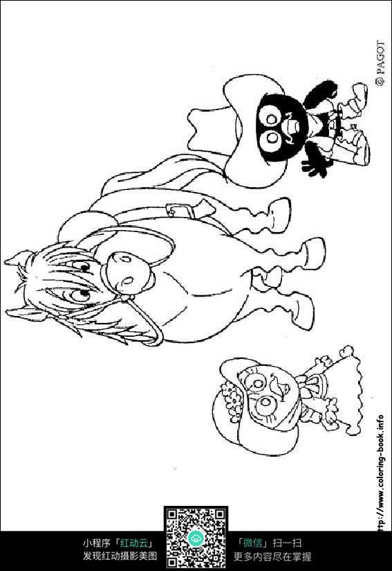 卡通马小鸡手绘线描画