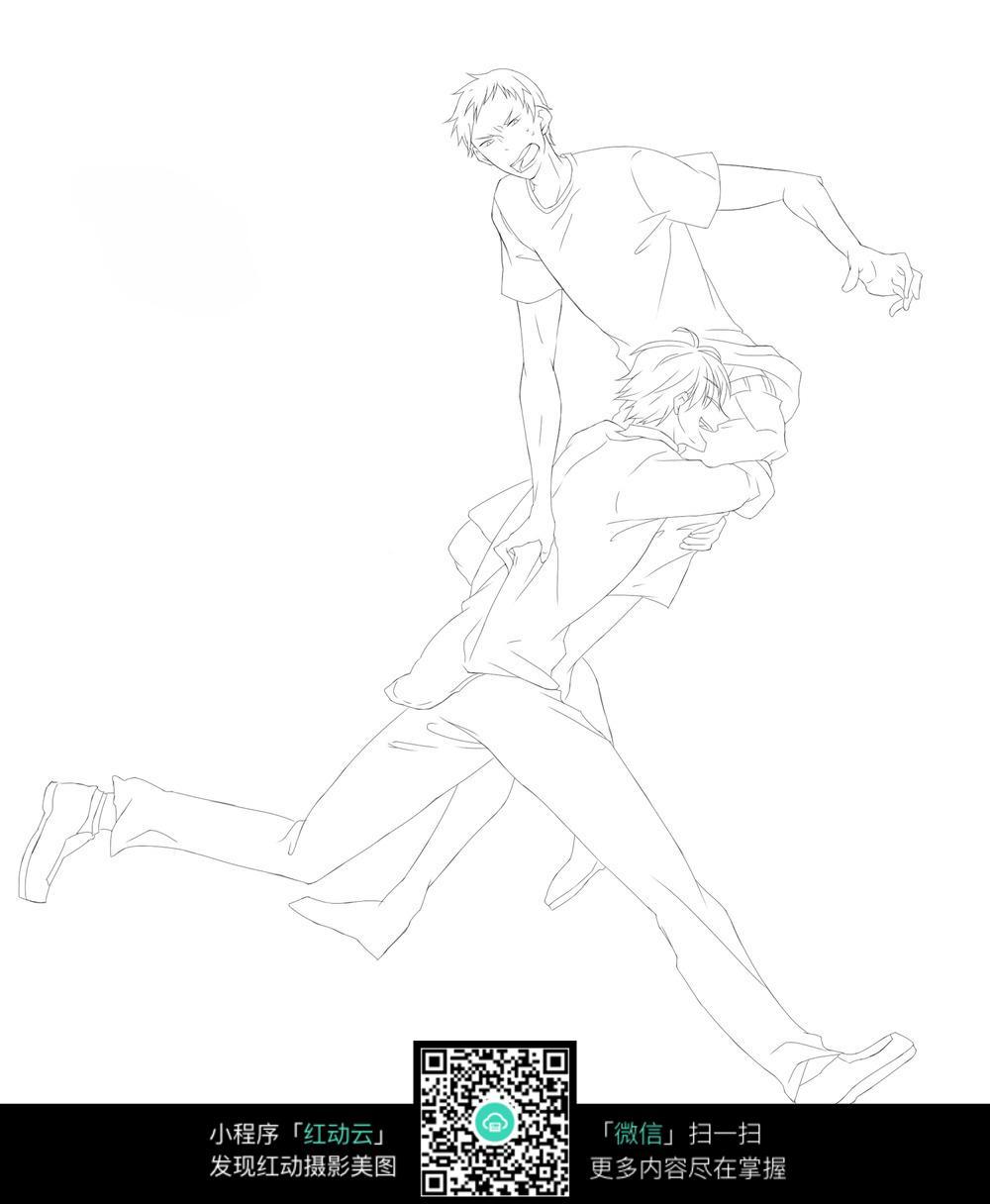 卡通男孩打斗线描_人物卡通图片
