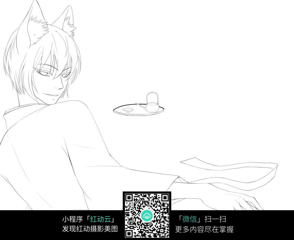 卡通男孩猫人线描_人物卡通图片