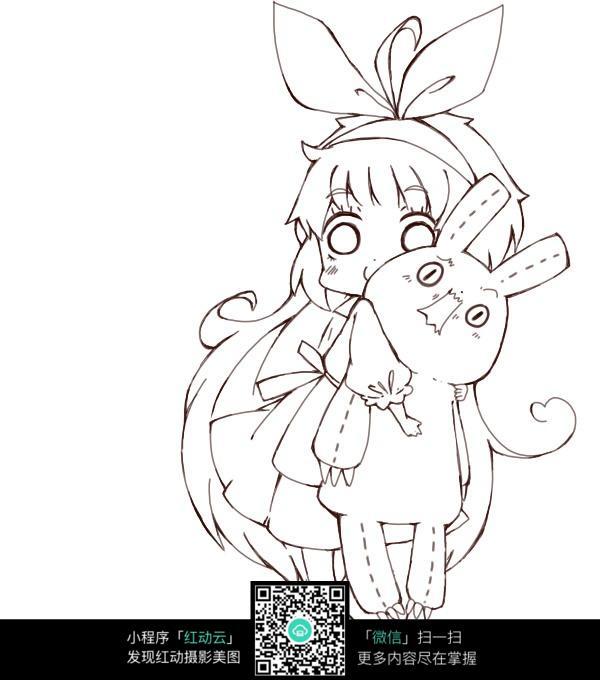 卡通女孩抱着娃娃线描_人物卡通图片