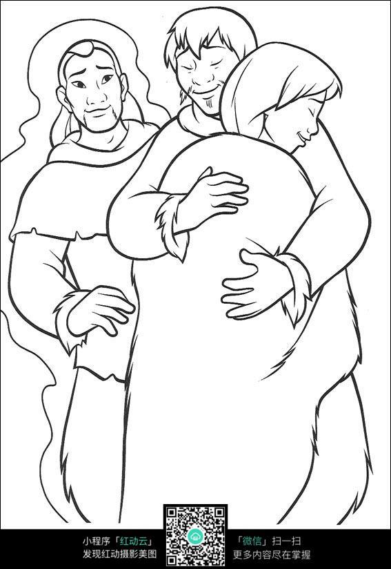 卡通女孩和家人拥抱