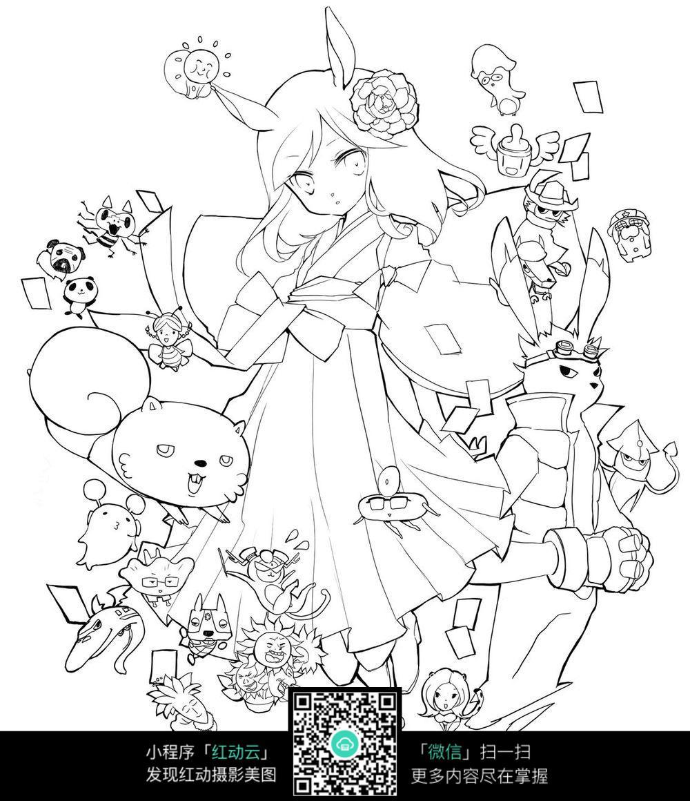 手绘女孩背景图