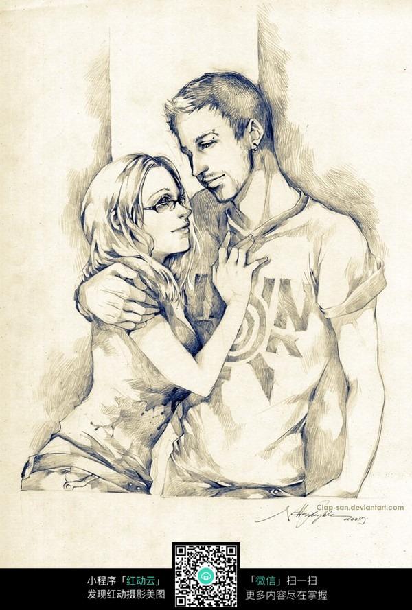 卡通女孩男孩约会线描图片